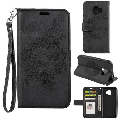Embossing Retro Matte Mandala Flower Leather Wallet Case for Samsung Galaxy J2 Pro (2018) - Black