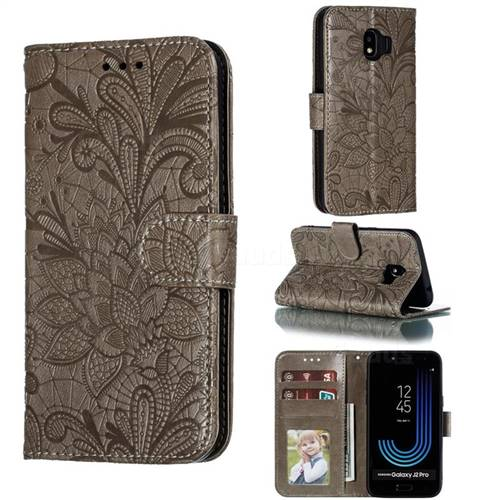 Intricate Embossing Lace Jasmine Flower Leather Wallet Case for Samsung Galaxy J2 Pro (2018) - Gray