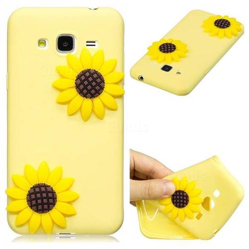 Yellow Sunflower Soft 3D Silicone Case for Samsung Galaxy J3 2016 J320