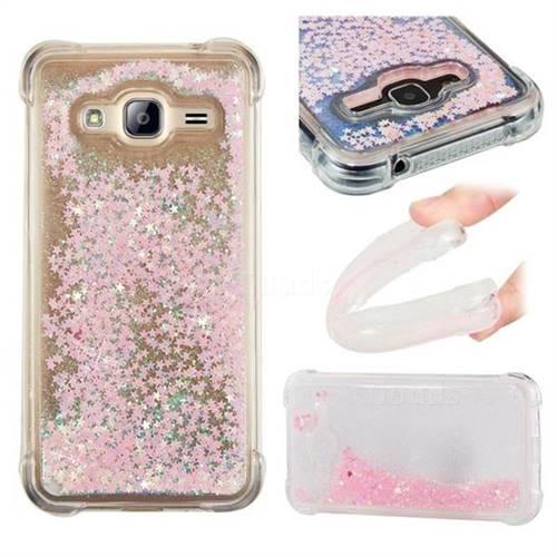 Dynamic Liquid Glitter Sand Quicksand TPU Case for Samsung Galaxy J3 2016 J320 - Silver Powder Star