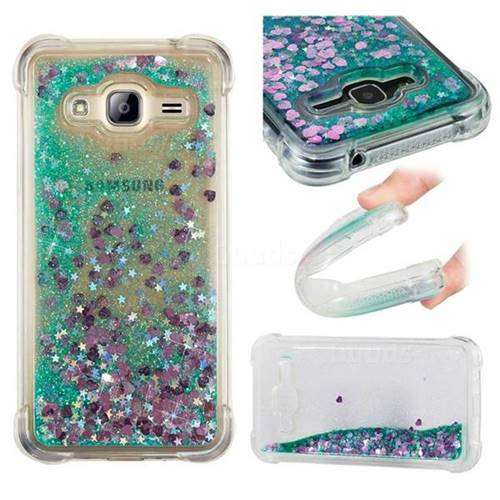 Dynamic Liquid Glitter Sand Quicksand TPU Case for Samsung Galaxy J3 2016 J320 - Green Love Heart
