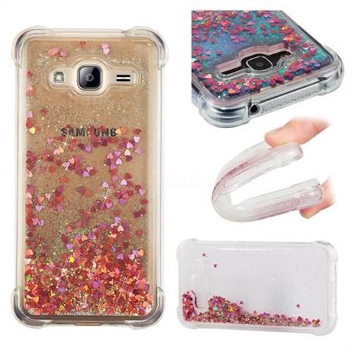 Dynamic Liquid Glitter Sand Quicksand TPU Case for Samsung Galaxy J3 2016 J320 - Rose Gold Love Heart