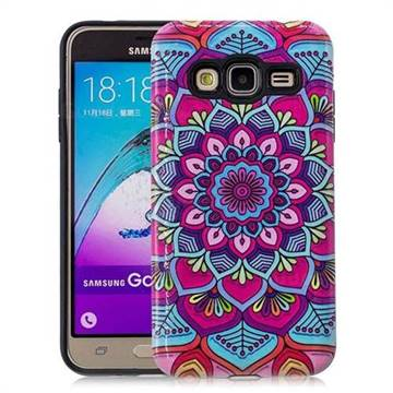 Datura Flowers Pattern 2 in 1 PC + TPU Glossy Embossed Back Cover for Samsung Galaxy J3 2016 J320