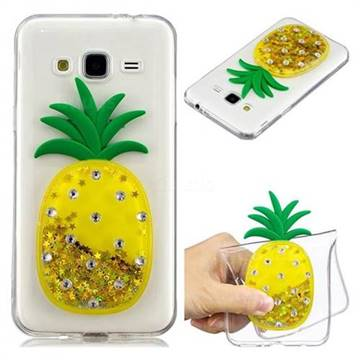 Gold Pineapple Liquid Quicksand Soft 3D Cartoon Case for Samsung Galaxy J3 2016 J320