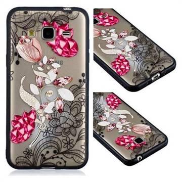 Tulip Lace Diamond Flower Soft TPU Back Cover for Samsung Galaxy J3 2016 J320