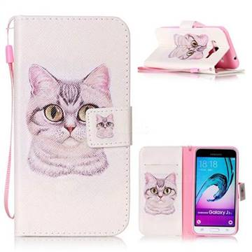 Lovely Cat Leather Wallet Phone Case for Samsung Galaxy J3