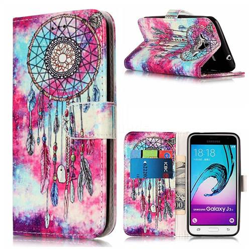 Butterfly Chimes PU Leather Wallet Case for Samsung Galaxy J3 2016 J320