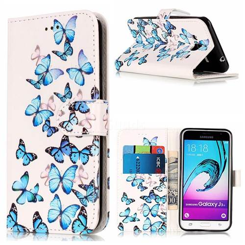 Blue Vivid Butterflies PU Leather Wallet Case for Samsung Galaxy J3 2016 J320