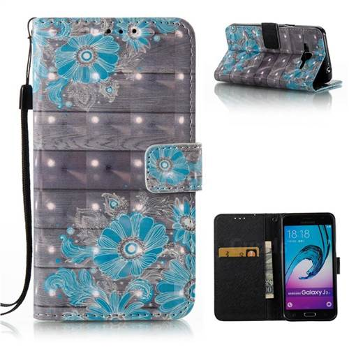 Blue Flower 3D Painted Leather Wallet Case for Samsung Galaxy J3 2016 J320