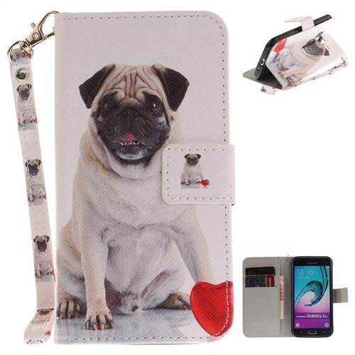 Pug Dog Hand Strap Leather Wallet Case for Samsung Galaxy J3 2016 J320