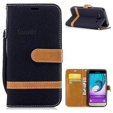 Jeans Cowboy Denim Leather Wallet Case for Samsung Galaxy J3 2016 J320 - Black