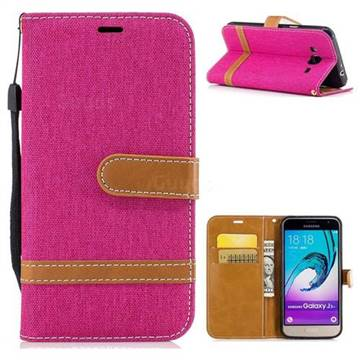 Jeans Cowboy Denim Leather Wallet Case for Samsung Galaxy J3 2016 J320 - Rose