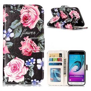 Peony 3D Relief Oil PU Leather Wallet Case for Samsung Galaxy J3 2016 J320