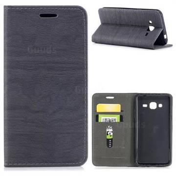 Tree Bark Pattern Automatic suction Leather Wallet Case for Samsung Galaxy J3 2016 J320 - Gray
