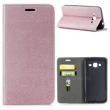 Tree Bark Pattern Automatic suction Leather Wallet Case for Samsung Galaxy J3 2016 J320 - Rose Gold