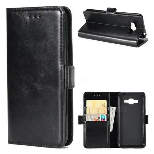 Luxury Crazy Horse PU Leather Wallet Case for Samsung Galaxy J3 2016 J320 - Black