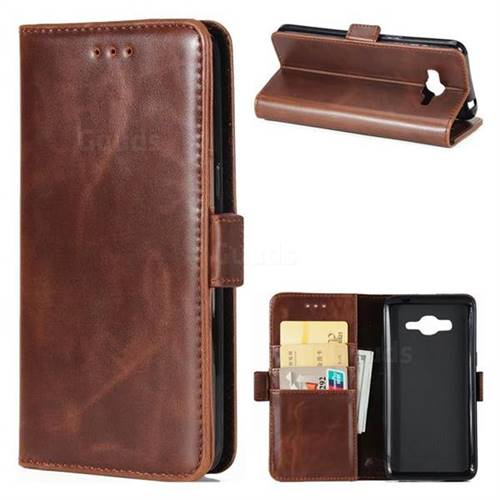 Luxury Crazy Horse PU Leather Wallet Case for Samsung Galaxy J3 2016 J320 - Coffee