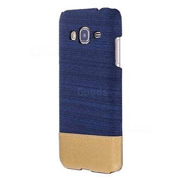 Canvas Cloth Coated Plastic Back Cover for Samsung Galaxy J3 2016 J320 - Dark Blue