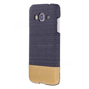 Canvas Cloth Coated Plastic Back Cover for Samsung Galaxy J3 2016 J320 - Black