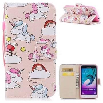 Rainbow Unicorn PU Leather Wallet Case for Samsung Galaxy J3 2016 J320