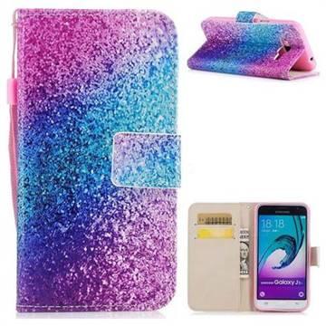 Rainbow Sand PU Leather Wallet Case for Samsung Galaxy J3 2016 J320