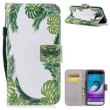 Green Leaves PU Leather Wallet Case for Samsung Galaxy J3 2016 J320
