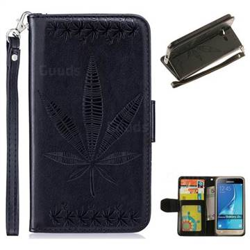 Intricate Embossing Maple Leather Wallet Case for Samsung Galaxy J3 2016 J320 - Black