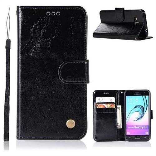Luxury Retro Leather Wallet Case for Samsung Galaxy J3 2016 J320 - Black