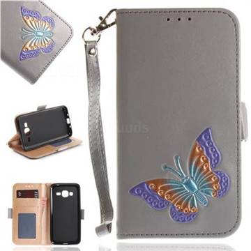 Imprint Embossing Butterfly Leather Wallet Case for Samsung Galaxy J3 2016 J320 - Grey