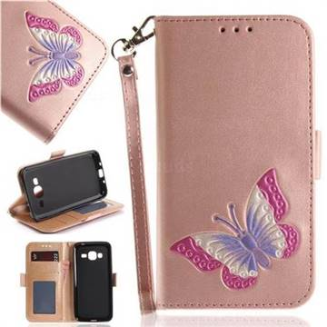 Imprint Embossing Butterfly Leather Wallet Case for Samsung Galaxy J3 2016 J320 - Rose Gold