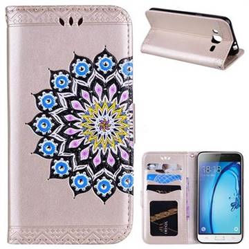 Datura Flowers Flash Powder Leather Wallet Holster Case for Samsung Galaxy J3 2016 J320 - Golden