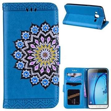 Datura Flowers Flash Powder Leather Wallet Holster Case for Samsung Galaxy J3 2016 J320 - Blue