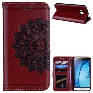 Datura Flowers Flash Powder Leather Wallet Holster Case for Samsung Galaxy J3 2016 J320 - Brown
