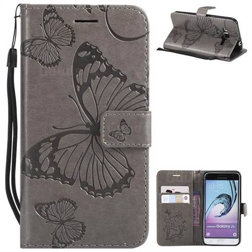 Embossing 3D Butterfly Leather Wallet Case for Samsung Galaxy J3 2016 J320 - Gray