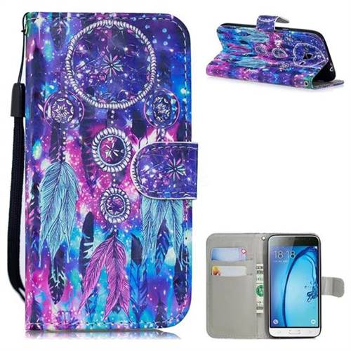 Star Wind Chimes 3D Painted Leather Wallet Phone Case for Samsung Galaxy J3 2016 J320