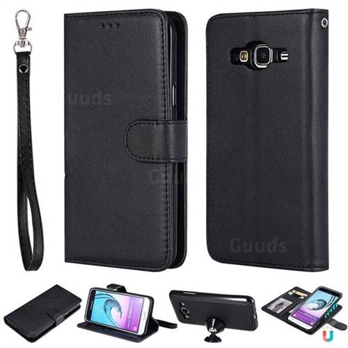Retro Greek Detachable Magnetic PU Leather Wallet Phone Case for Samsung Galaxy J3 2016 J320 - Black