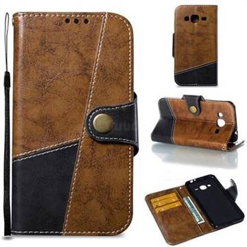 Retro Magnetic Stitching Wallet Flip Cover for Samsung Galaxy J3 2016 J320 - Brown