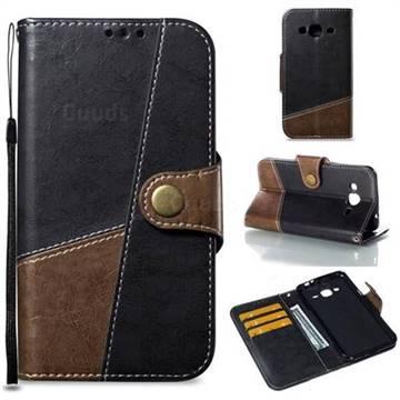 Retro Magnetic Stitching Wallet Flip Cover for Samsung Galaxy J3 2016 J320 - Dark Gray