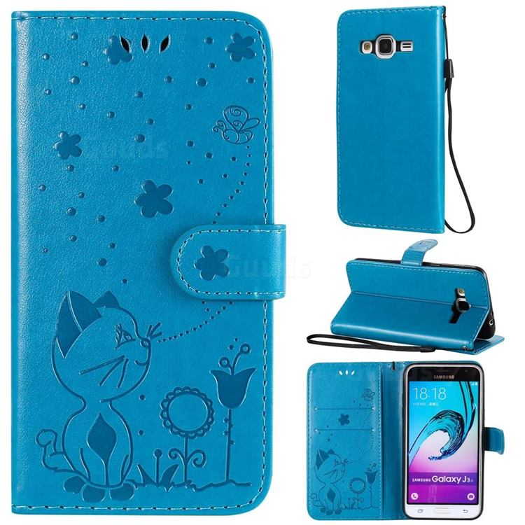 Embossing Bee and Cat Leather Wallet Case for Samsung Galaxy J3 2016 J320 - Blue