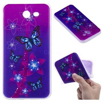 Butterfly Flowers 3D Relief Matte Soft TPU Back Cover for Samsung Galaxy J3 2017 Emerge US Edition