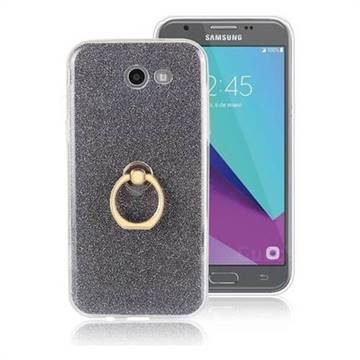 Luxury Soft TPU Glitter Back Ring Cover with 360 Rotate Finger Holder Buckle for Samsung Galaxy J3 2017 Emerge US Edition - Black