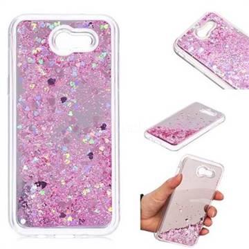 Glitter Sand Mirror Quicksand Dynamic Liquid Star TPU Case for Samsung Galaxy J3 2017 Emerge US Edition - Cherry Pink