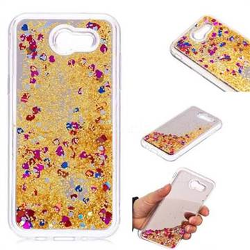 Glitter Sand Mirror Quicksand Dynamic Liquid Star TPU Case for Samsung Galaxy J3 2017 Emerge US Edition - Yellow