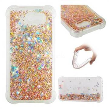 Dynamic Liquid Glitter Sand Quicksand Star TPU Case for Samsung Galaxy J3 2017 Emerge US Edition - Diamond Gold