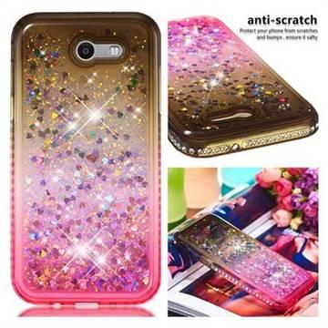 Diamond Frame Liquid Glitter Quicksand Sequins Phone Case for Samsung Galaxy J3 2017 Emerge US Edition - Gray Pink