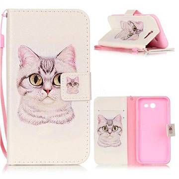 Lovely Cat Leather Wallet Phone Case for Samsung Galaxy J3 2017 Emerge