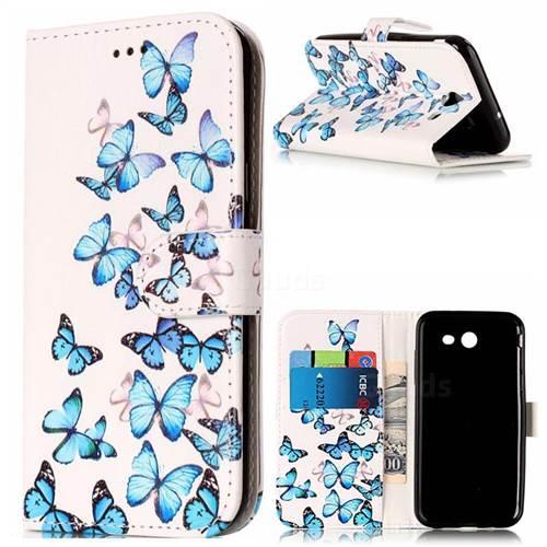 Blue Vivid Butterflies PU Leather Wallet Case for Samsung Galaxy J3 2017 Emerge