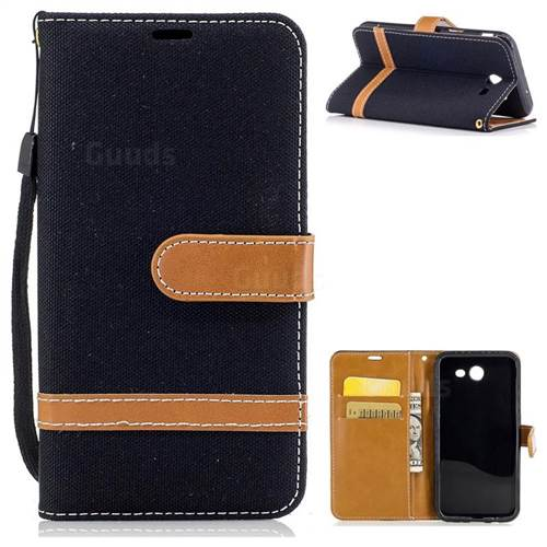 Jeans Cowboy Denim Leather Wallet Case for Samsung Galaxy J3 2017 Emerge - Black
