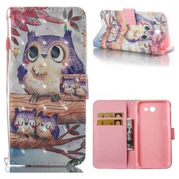 Purple Owl 3D Painted Leather Wallet Case for Samsung Galaxy J3 2017 Emerge US Edition