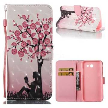 Plum Girl 3D Painted Leather Wallet Case for Samsung Galaxy J3 2017 Emerge US Edition